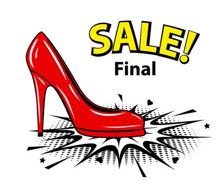 Red female pump sale banner in pop art style. Illustration