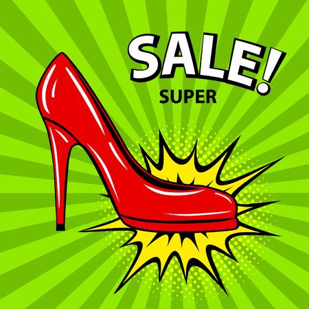 Super venta zapatos banner en estilo del cómic pop art con bomba de tacón rojo sobre fondo verde sunburst con textura de semitono