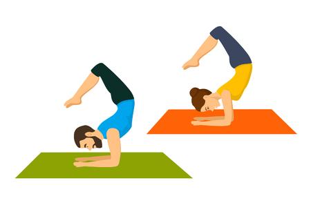 to do: Man and woman do yoga scorpion asana, pose