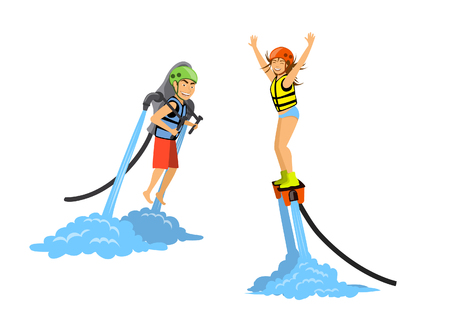 Man and woman flyboarding and ride water jetpack. extreme water sport activities Stock Vector - 80638124
