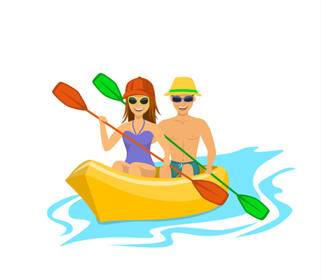 Man and woman kayaking isolated vector illustration Ilustrace