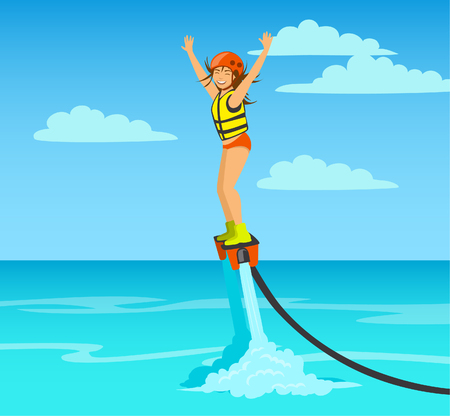 Woman flyboarding. summer beach sea extreme water sport activity