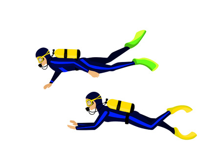 man and woman scuba diving isolated vector illustration