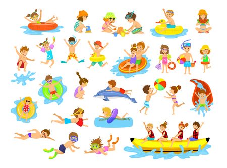 Children summer holidays fun activities at beach on water. Boys and girls swim, dive, jump, sliding in aquapark, floating on inflatable mattresse, eating ice cream and watermelon, building making sand castle, playing ball, snorkeling, riding banana boat a Ilustracja
