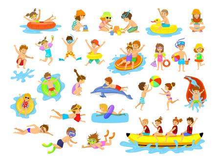 Niños vacaciones de verano actividades divertidas en la playa en el agua. Muchachos y muchachas nadan, zambullida, salto, deslizándose en el parque acuático, flotando en mattresse inflable, comiendo el helado y la sandía, construyendo el castillo de la arena, jugando la bola, buceando, montando el barco del plátano a Ilustración de vector