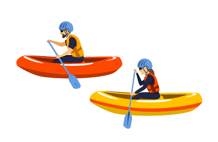 Man and woman rafting