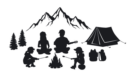 Family sit around campfire silhouette scene with mountains, tent and pine trees. People camping outdoor 向量圖像