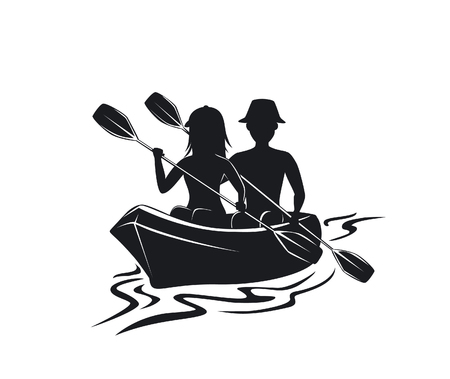 Man and woman kayaking silhouette front view isolated vector illustration
