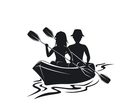 Man en vrouwen kayaking silhouet vooraanzicht geïsoleerde vectorillustratie Stock Illustratie