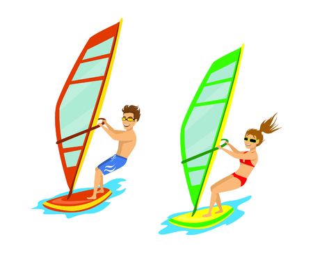 sailboard: Man and woman windsurfing isolated Illustration