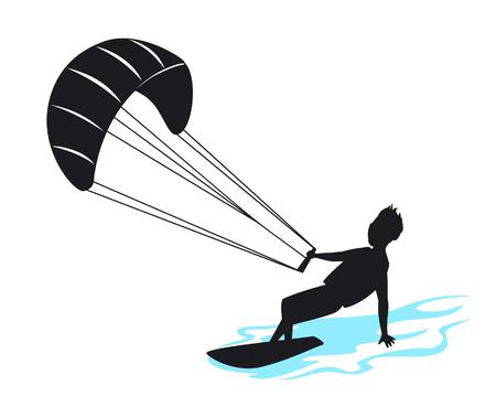 ilustración de vector de silueta de hombre kitersurfing
