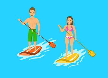 Man and woman srand up paddling, paddleboarding on water, sea