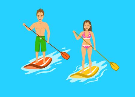 Man and woman srand up paddling, paddleboarding on water, sea