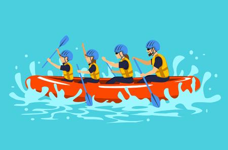 Familia, rafting, vector, ilustration