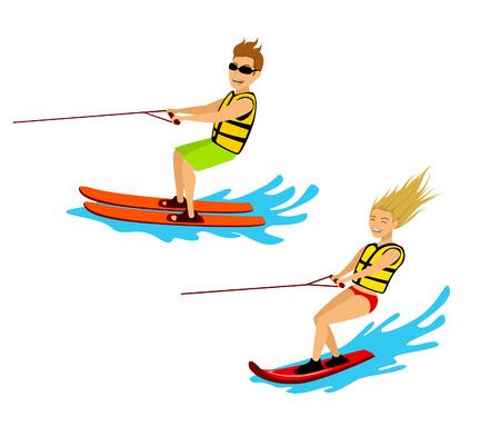 man en vrouw paardrijden waterski en wakeboard geïsoleerde cartoon vectorillustratie
