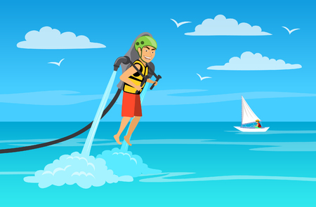 man riding water jet pack. summer beach vacations background Illustration