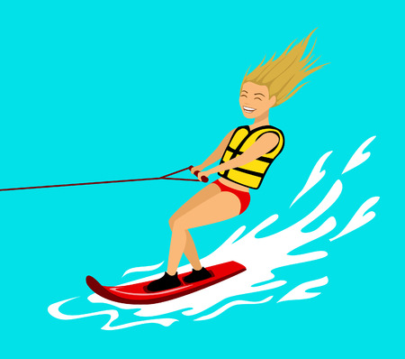 Woman riding wakeboard. extreme summer sport fun activity Illustration