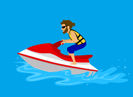 Man driving jet ski on a water Illustration