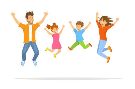 Happy family jumping for joy scene