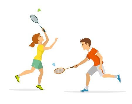man and woman badminton player Stock Vector - 80638084