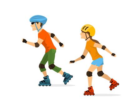 男と女のローラー スケート分離  イラスト・ベクター素材