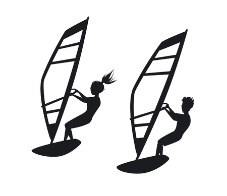 sailboard: Man and woman windsurfing silhouettes