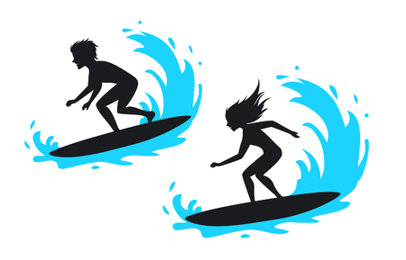 A man and woman surfing silhouette vector illustration. Vector Illustration