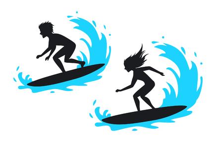 Un hombre y una mujer surf ilustración de vector de silueta. Ilustración de vector