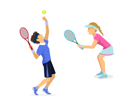 indoor court: A male and female tennis players.