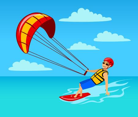 A man kite surfing on water cartoon vector illustration.