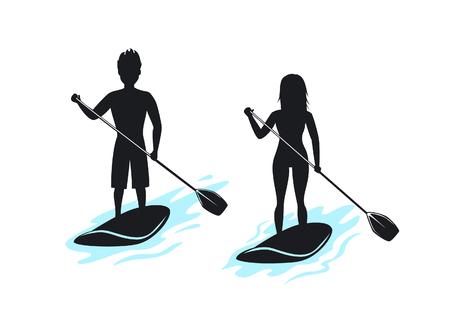 El hombre y la mujer paran remando, siluetas de paddleboarding