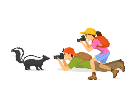 Man and woman tourist travelers photographers taking photo of skunk animals, isolated vector ilustration