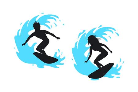 Siluetas de surfista de hombre y mujer montando en una ola Foto de archivo - 80637712