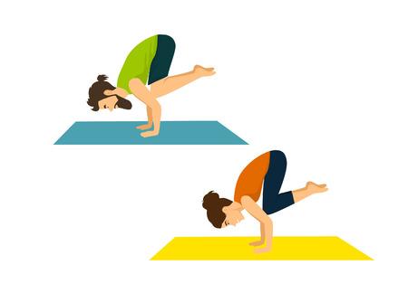 Man and woman do yoga crow asana, pose Illustration
