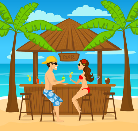 Man and woman enjoyig summer vacation, drink cocktails at beach bar, sitting under palm trees, colorful cartoon vector illustration