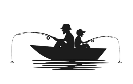father and son fishing on boat on a lake silhouette Stock Illustratie