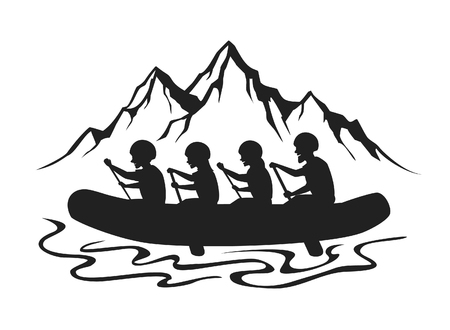 Team , group of people, man and woman whitewater rafting silhouette vector illustration