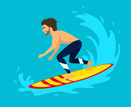 Man surfer riding on a wave. surfing water sport activity Illustration