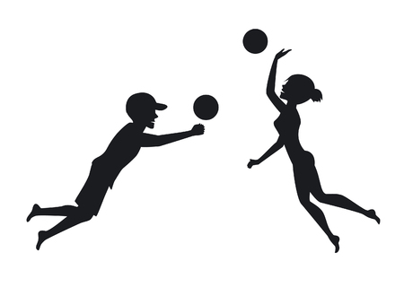 Male and female beach vollyball players silhouettes
