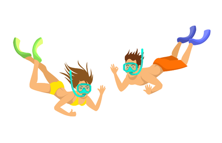 man and woman snorkeling, isolated vector illustration Illustration