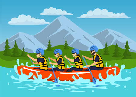 backgrund: Team , group of people, man and woman whitewater rafting on river. cartoon mountain forest landscape on background