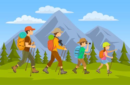 man, vrouw, kinderen, familie wandelaars reizende trekking met rugzakken in bergen bos cartoon vector illustratie