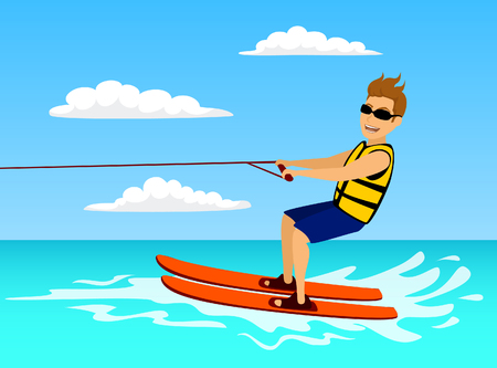 Man riding waterski. extreme summer water sport fun activity. vacation time