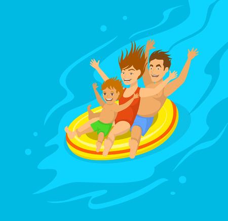 family holiday: Funny Family sliding on tube in aquapark Illustration