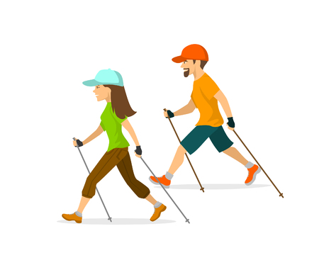 man and woman nordic walking, exercising  isolated vector illustration
