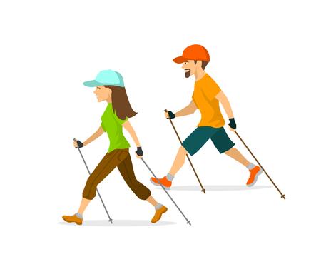 man en vrouw nordic walking, uitoefening van geïsoleerde vector illustratie