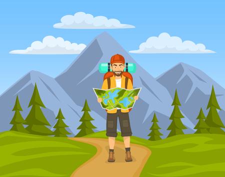 tourist jiking in mountains. man holding, looking at map. Illustration