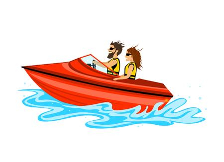 uomo e donna, coppia in motoscafo di guida, colorato isolato illustrazione vettoriale