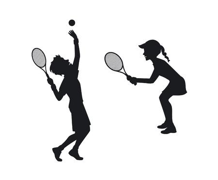 mujer deportista: siluetas de jugadores de tenis masculinos y femeninos