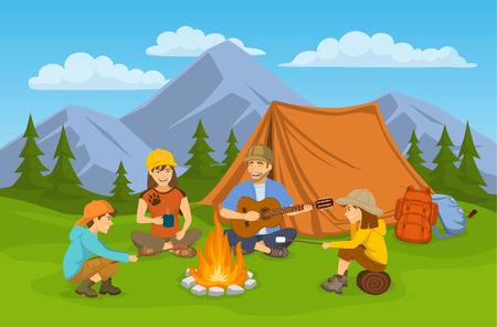 Family sitting around campfire and tent. camping hiking adventure trip scene